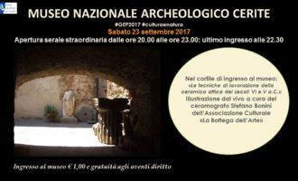 Cerveteri, Giornate Europee del Patrimonio: apertura straordinaria serale al Museo Nazionale Cerite