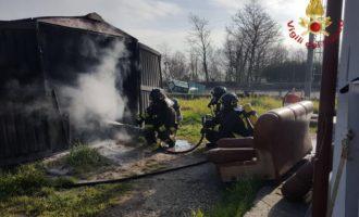 A fuoco una falegnameria tra Tolfa ed Allumiere