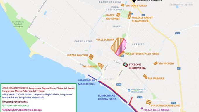 Tutto pronto sul lungo mare di Ladispoli per le Frecce Tricolori la mappa dove poter ammirare l'evento
