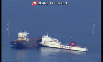 Collisione tra navi in Corsica la Guardia Costiera italiana monitora l'onda nera