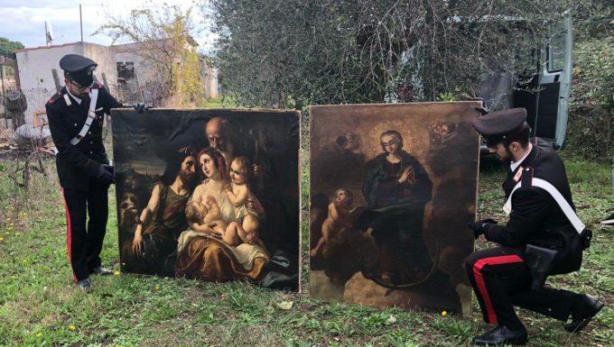 Zagarolo, in un casolare di campagna i Carabinieri ritrovano dipinti rubati del XVII secolo