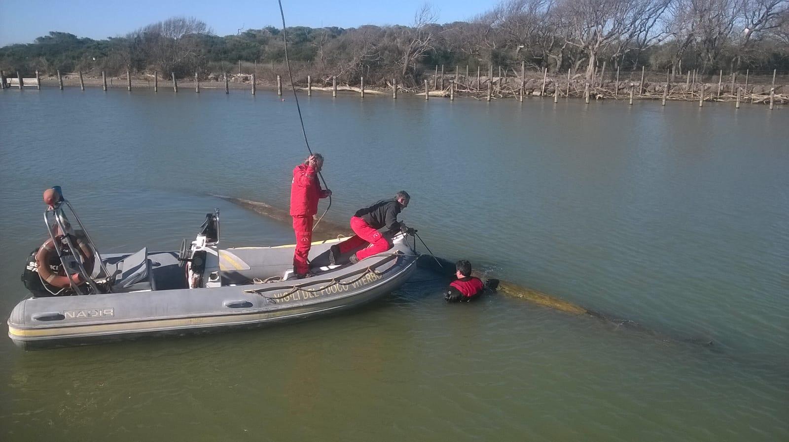 La Guardia Costiera ed i Vigili del Fuoco ripuliscono la foce del fiume Fiora