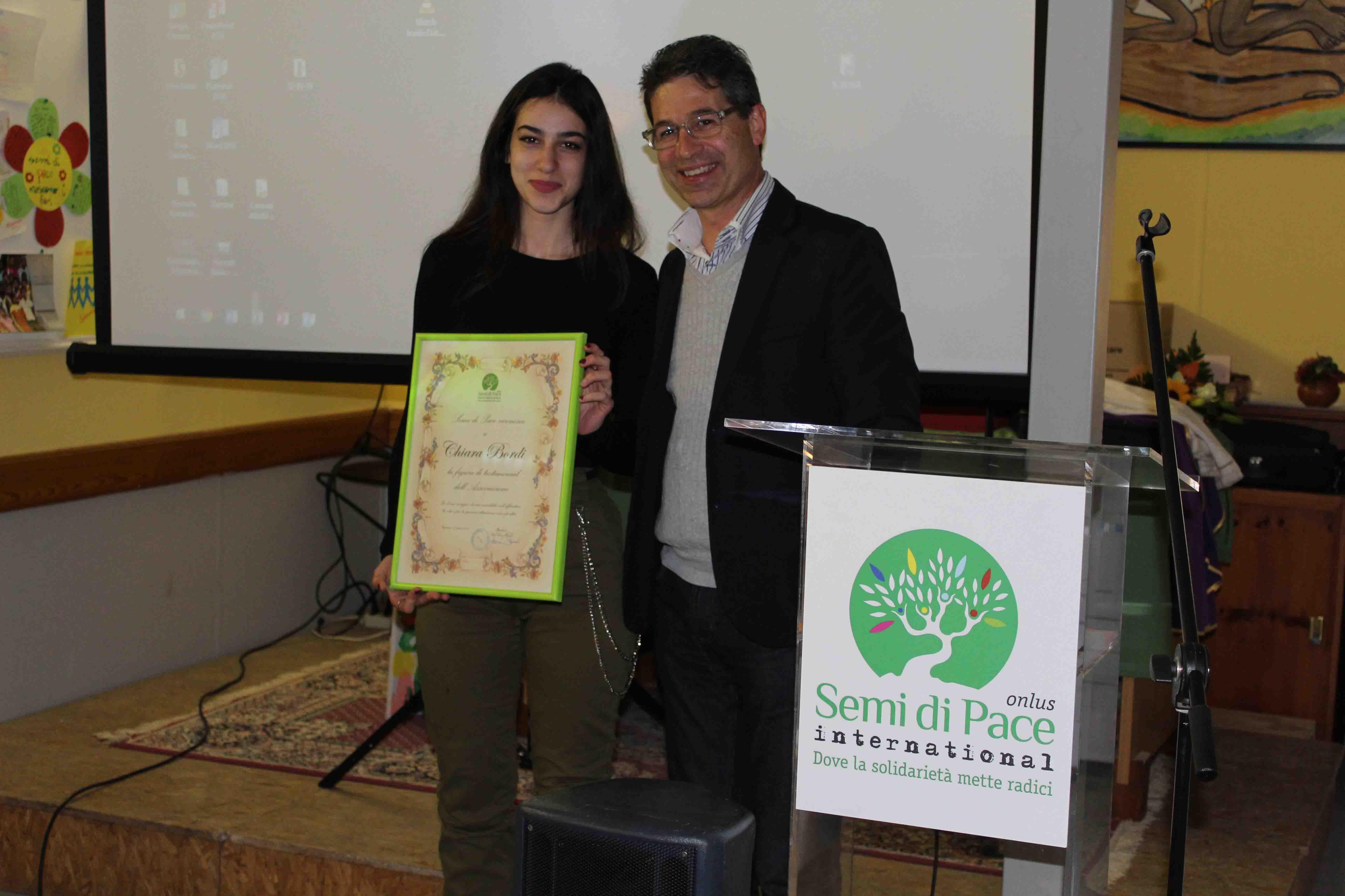Tarquinia, Chiara Bordi testimonial di Semi di Pace