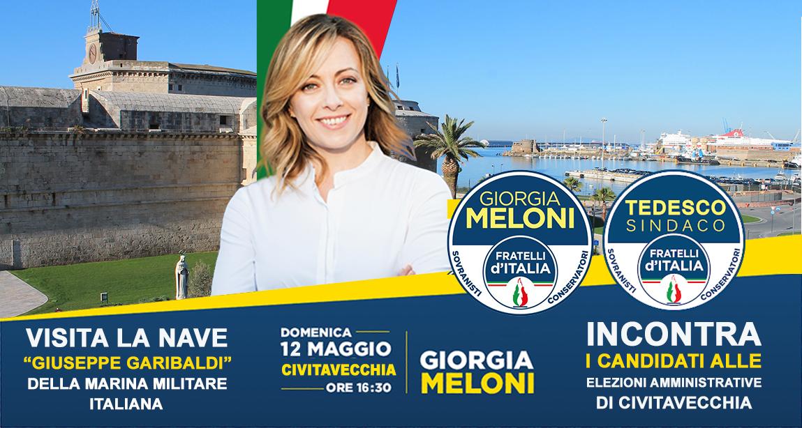 Giorgia Meloni domenica a Civitavecchia