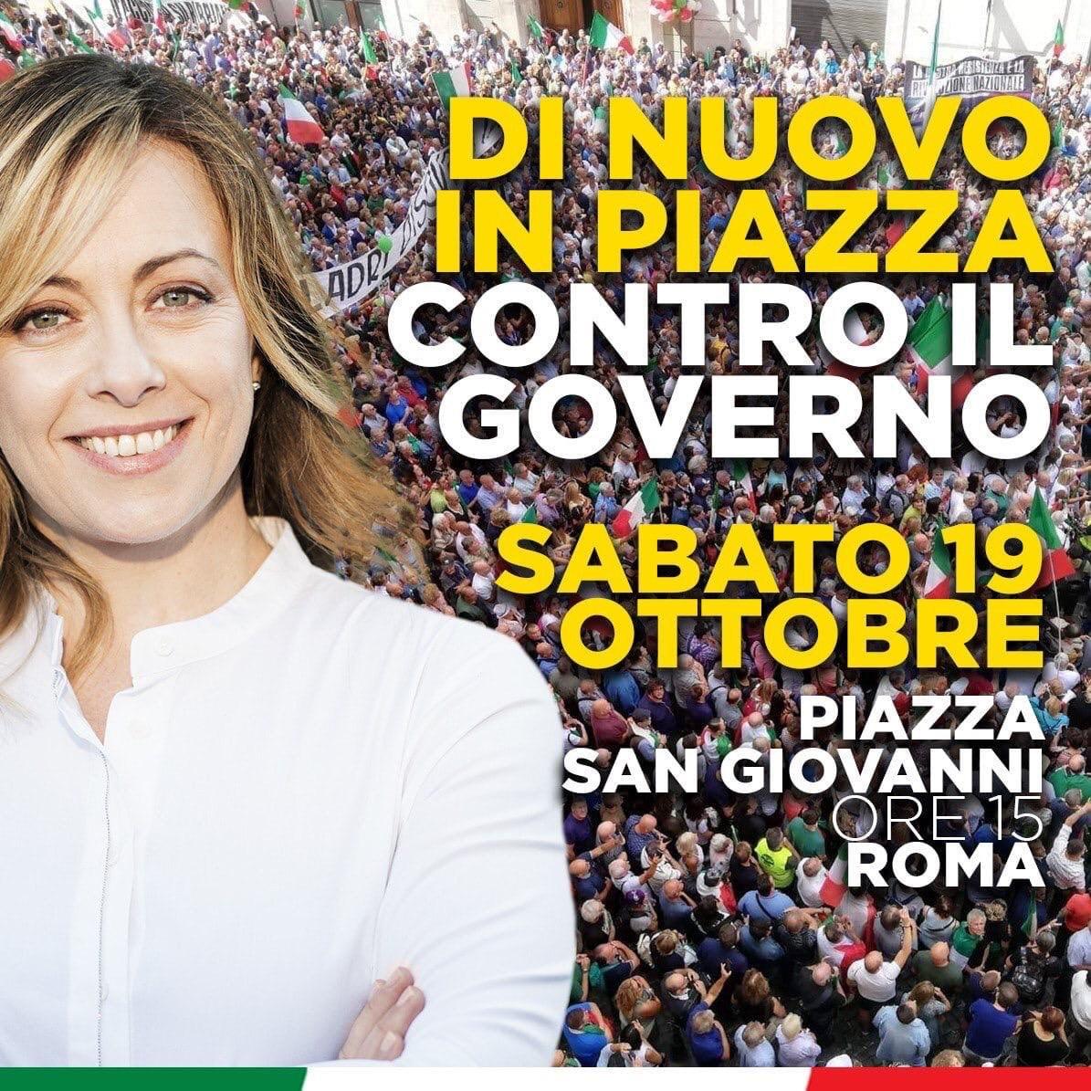 Fratelli d'Italia di Civitavecchia parteciperà alla manifestazione di sabato 19 ottobre a piazza San Giovanni
